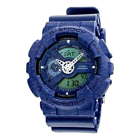 Casio G-Shock Heathered Blue Dial Resin Quartz Men's Watch GA110HT-2A (Blue G Shock Men)