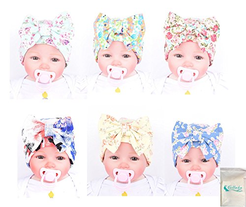 Gellwhu Infant Baby Girls Floral Print Nursery Newborn Hospital Hat Cap with Big Bow (6 Colors Pack)