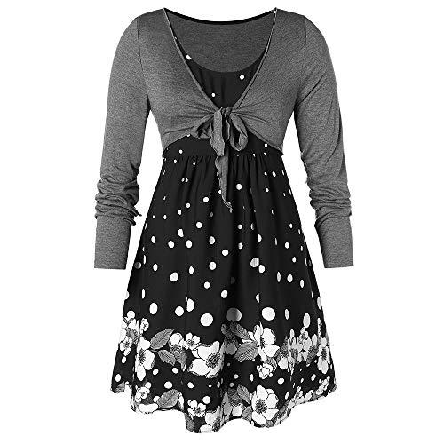 21cadbcaa3 Rosegal Women s Plus Size Long Sleeves T-Shirt Polka Dot False Two Piece  Flower Print Self Tie Tee Top Fall Spring