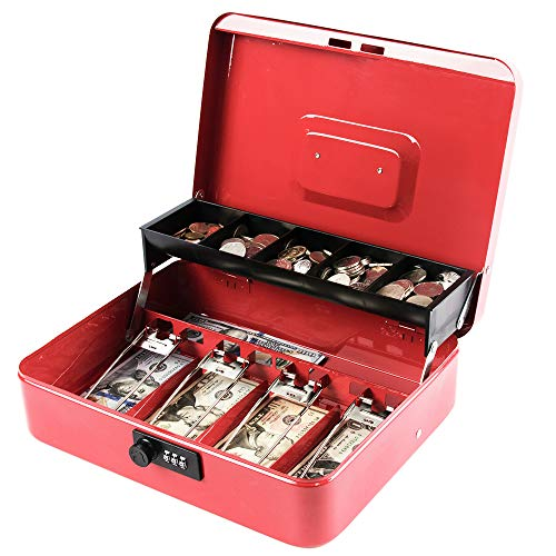 Kyodoled Money Box with Combination Lock, Metal Cash Box with Money Tray, Cash Register,5 Compartments Cantilever Tray & 4 Spring-Loaded Clips for Bills,11.81