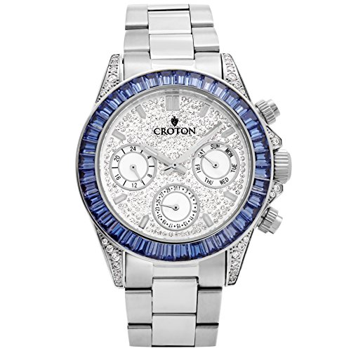 Croton Men's Silvertone Multi-function Watch with Blue CZ...