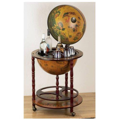 Kassel HHGLB32 Kassel 13quot; Diameter Old World Map Globe Wine Bar by B&F