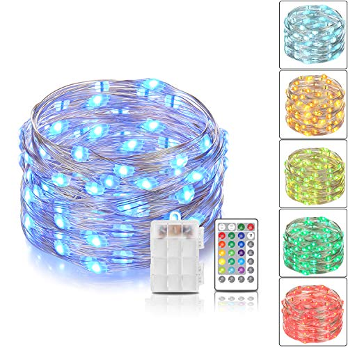 2 Pcs Indoor String Lights,iCakper Battery Powered Multi Color Changing String Lights with Remote Control,Waterproof 50LED 16ft Decorative Fairy Lights for Bedroom Patio Garden Party, Christmas Lights