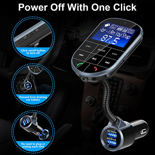 Bluetooth FM Transmitter for Car, Frienda Wireless Radio Adapter Car Kit with Hand-Free Calling, 5V/3.4A Dual USB Ports, On Off Button, A2DP Aux Input/Output TF Card and USB MP3 Player by Frienda (Image #6)