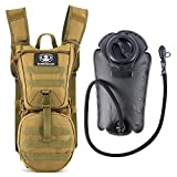 Barbarians Tactical Hydration Pack Water Backpack with 3L Bladder, Lightweight Military Molle Backpack Tan