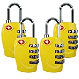 4 Dial Digit TSA Approved Travel Luggage Locks Combination for Suitcases (Yellow-4 Pack)