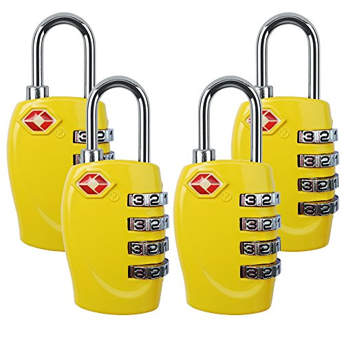 4 Dial Digit TSA Approved Travel Luggage Locks Combination for Suitcases (Yellow-4 Pack) by Yestelle