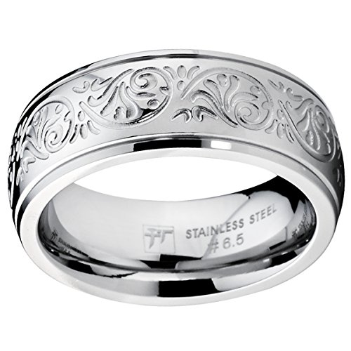 Galleon 7mm Stainless Steel Ring With Engraved Florentine Design