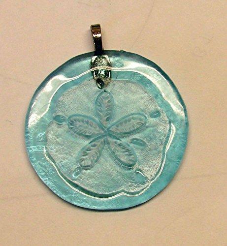 Sand Dollar Sun Catcher Upcycled Light Blue Glass Bottle Bottom Ornament Decor