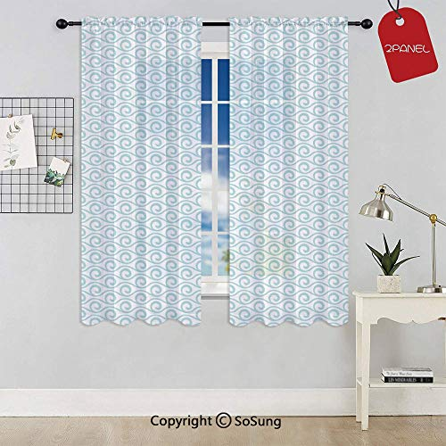 Classical Compact Design of Zigzags Upped Simplistic Texture Tile Horizontal Rod Pocket Sheer Voile Window Curtain Panels for Kids Room,Kitchen,Living Room & Bedroom,2 Panels,Each 42x45 Inch,Light Bl
