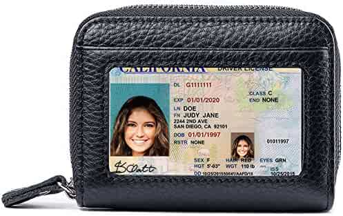 RFID Blocking Leather Wallet for Women,Excellent Women's Genuine Leather Credit Card Holder