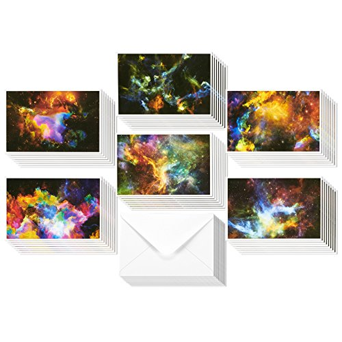48 Pack All Occasion Assorted Blank Note Cards Greeting Cards Bulk Box Set - 6 Colorful Cosmic Designs - Blank on the Inside Notecards with Envelopes Included - 4 x 6 Inches