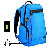 HAWEEL Outdoor Multi-function Solar Panel Power Breathable Casual Backpack Laptop Bag School Bookbag for College Travel Backpack, With USB Charging Port & Earphone Port (Blue)