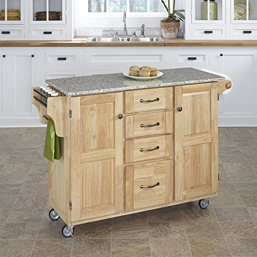 (Create-a-Cart Natural 2 Door Kitchen Cart with Salt and Pepper Granite Top and Home Styles)