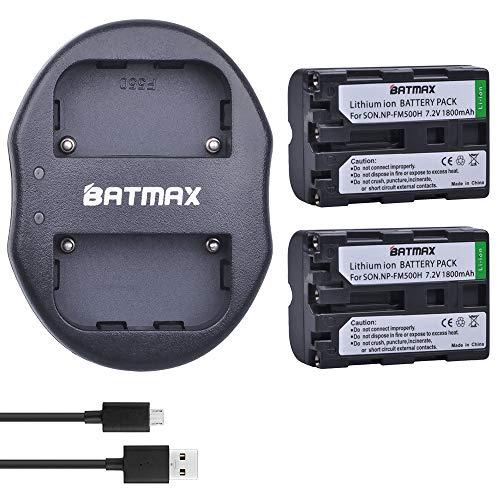Batmax 2 Pcs NP-FM500H NP FM500H NPFM500H Rechargeable Battery + USB Dual Charger for Sony Alpha SLT A57 A65 A77 A99 A350 A550 A580 A900 with USB Cable