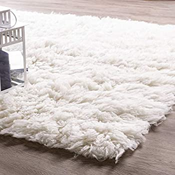 Amazon Com Super Area Rugs White Wool Shag Rug Eco
