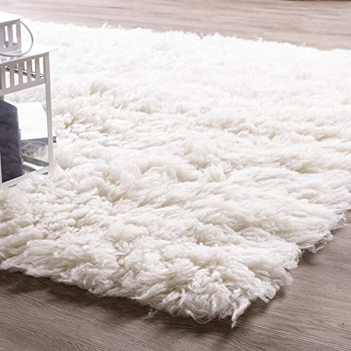 - Super Area Rugs White Wool Shag Rug Eco-Friendly Long Pile Flokati Rug for Bedroom 5' x 7' Rectangle