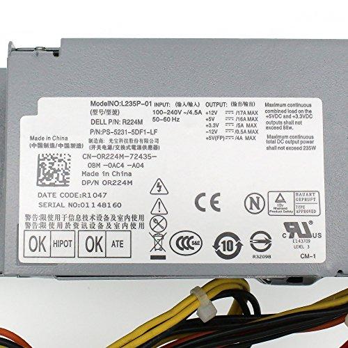 S-Union FR610 WU136 PW116 67T67 RM112 R224M 235W Power Supply for Dell Optiplex 760, 960 780 580 SFF Systems, Model Numbers H235P-00 L235P-01 L235P-00 H235E-00 F235E-00 L235ES-00 by S-Union (Image #4)