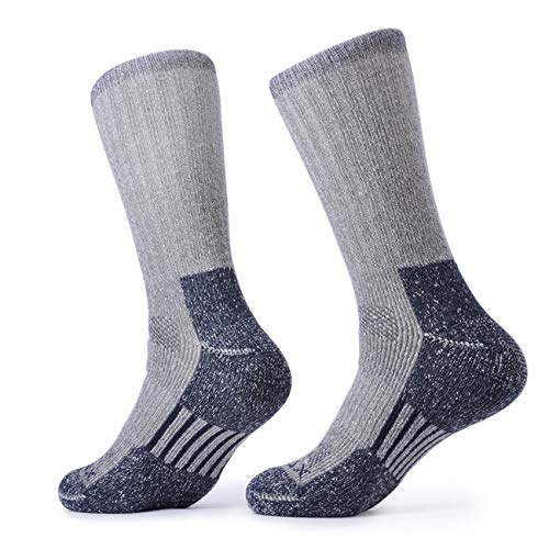 SOLAX Mens 2 Pairs Merino Wool Athletic Crew Hiking Boots Full Cushion Socks