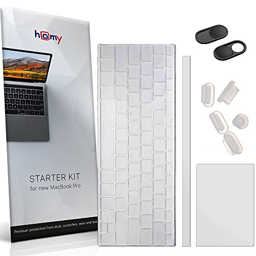 Homy Compatible Full Protection Kit for MacBook Pro 13 inch 2016, 2017, 2018 Keyboard Cover - Touch Bar Protector, Trackpad Protector, Webcam Anti-Spy Cover & Dust Plugs Port Protect A1706/A1989/A1708