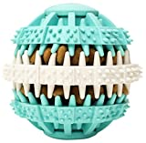 Coevals Club Pet Dog Treat Slow Feed Ball, Interactive IQ Non-Toxic Rubber Dental Treat Tooth Cleaning Toy for Dogs Training Playing Chewing, 2.4' L, Blue and White
