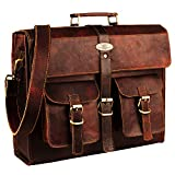 Leather Laptop Bag | Leather Messenger for Men and Women | Briefcases for Men | A Perfect Satchel can be Used for School and Work Fits Computer Upto 15.6 Inch by Handmade World