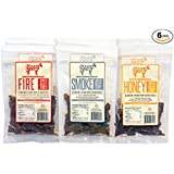 Naked Cow All Natural Grass Fed Beef Jerky - SAMPLER includes TWO (2) bags of HONEY, FIRE and SMOKE