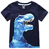 Frogwill Toddler Boys Dinosaur Short Sleeve 3D T-shirt Top Tee Size 4-10 (4/5Y, Navy)