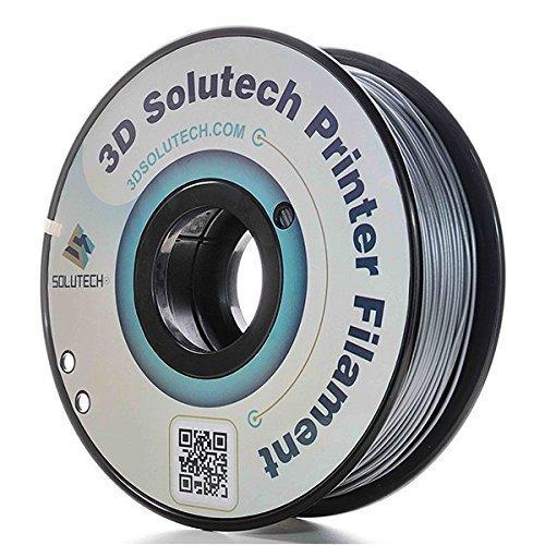 3D Printer PLA Filament 1.75MM Filament, Dimensional Accuracy +/- 0.03 mm, 2.2 LBS (1.0KG) - 3D Solutech (Silver)...