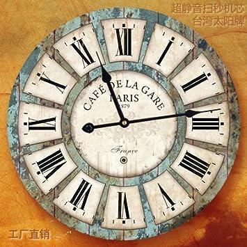 Komo silencioso Moderno Decoración Adorno para Hogar Salón Retro Reloj de Pared Simple y Creativo Ultra silencioso,Relojes de Pared de Madera de 16 Pulgadas ...