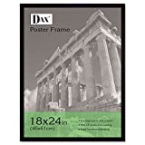 DAX 2860W2X Flat Face Wood Poster Frame, Clear Plastic Window, 18 x 24, Black Border