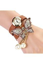 Bessky Women Faux Pearls Rhinestone Butterfly Bracelet Quartz Analog Watch