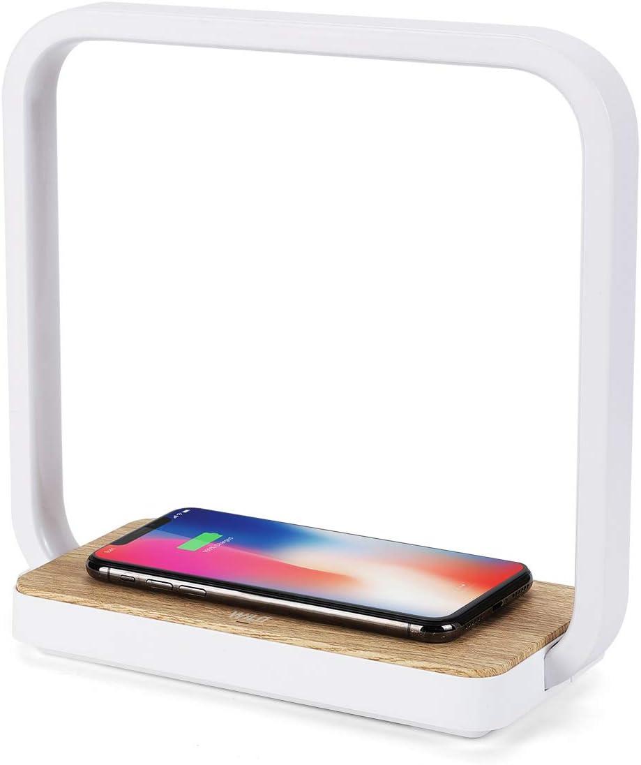 WILIT A13 Lámpara de Mesita de noche Regulable con Carga Inalámbrica habilitada Qi, Lámpara de Mesa Táctil con 3 Niveles de Brillo, Cargador para iphone 11/XR/XS/X/8, Samsung Galaxy S10/S9/S8
