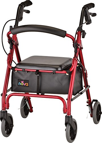 """NOVA GetGo Petite Rollator Walker (Petite & Narrow Size), Rolling Walker for Height 4'10"""" - 5""""4"""", Seat Height is 18.5"""", Ultra Lightweight - Only 13 lbs with More Narrow Frame, -"""