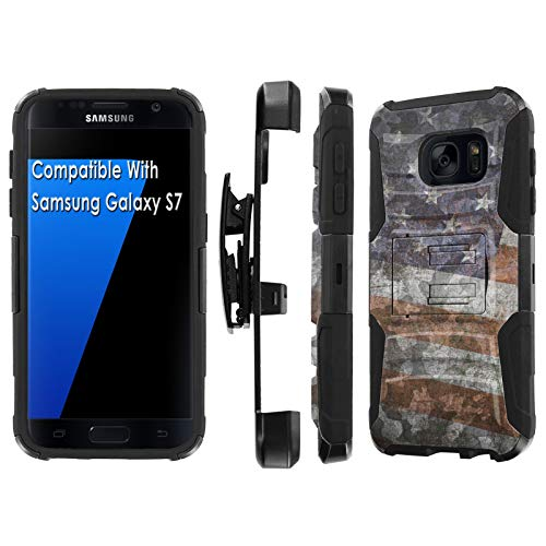 (Samsung Galaxy S7 / GS7 Deluxe Phone Case by [TalkingCase], Black/Black Premium Dual Layer Armor Case, w/Holster & Kickstand Phone Case for Samsung Galaxy S7 [American Flag Camouflage] Design in)