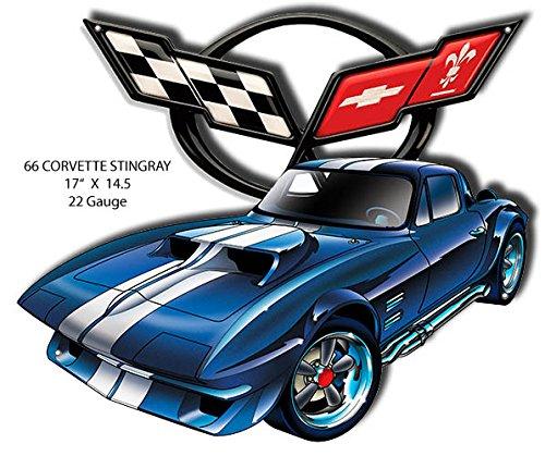 Garage Art Signs 66 Corvette Stingray Laser Cut Out by Artist Bernard Oliver 14.5x17 ()