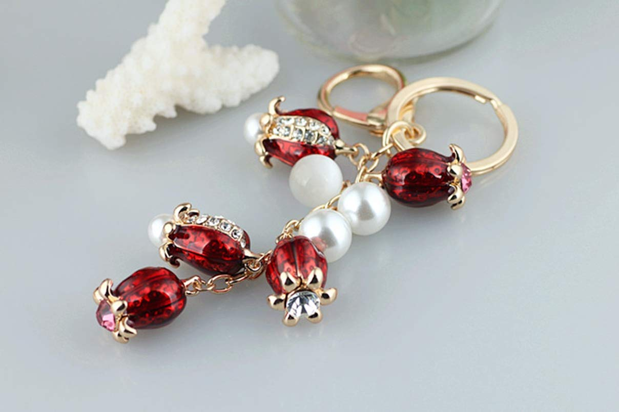 1 Set Crystal Rhinestone Tulip Beaded Alloy Keyrings Pendants Teenagers Fur Rabbit Utility Tool Key Tags Distinguished Popular Pocket Girls Bag Car Keychain