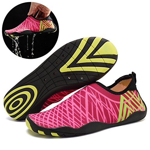 ToLFE Männer Frauen Barfuß Quick-Dry Wasser Aqua Schuhe Haut Flexible Socken Für Schwimmen, Gehen, Strand, Fahren Rose Rot