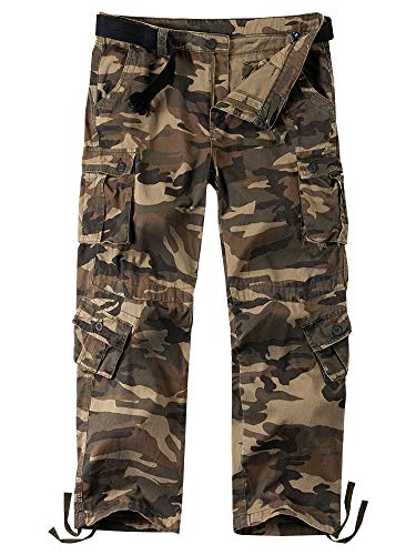 Men's Casual Military Pants, Camo Tactical Wild Combat Cargo ACU/BDU Rip Stop Trousers with 8 Pockets #7533-Grey Camo,30