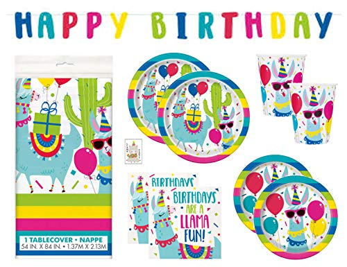 Llama Cactus Birthday Party Supplies Set Includes Dinner Plates, Cake Plates, Cups, Napkins, Tablecover and Banner Decoration (Deluxe with Tablecover/Banner - Serves -