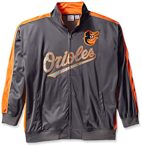 Orioles Jackets Mens Baltimore (Profile Big & Tall MLB Baltimore Orioles Men's Team Reflective Tricot Track Jacket, 4X, Charcoal/Orange)