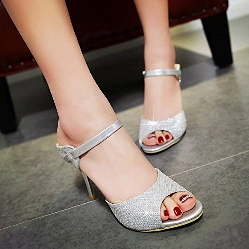 Zanpa Zapatos Mujer Tacon Fiesta Plata