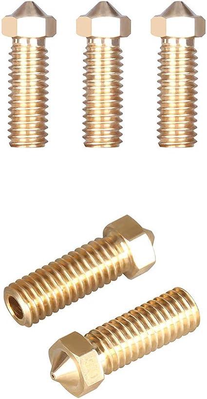 ALAMSCN 10PCS V6 Volcano Brass Nozzle Extra Extruder Nozzles 0.4mm M6 1.75mm Filament for 3D Printer Part