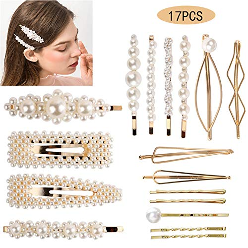 17 PCS Hair Clips Vintage Artificial White Pearl Hair Accessories for Women Girls Large Barrettes Flower Hair Pins Bobby Pins for Wedding Bridal(Gold)