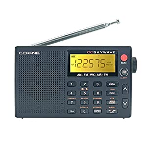 C Crane CC Skywave AM, FM, Shortwave, Weather and Airband Portable Travel Radio with Clock and Alarm