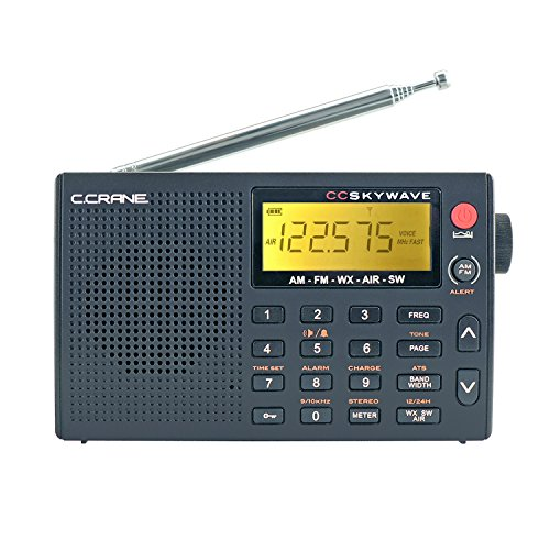 Wave Shelter - C Crane CC Skywave AM, FM, Shortwave, Weather and Airband Portable Travel Radio with Clock and Alarm