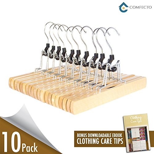 10 Pack Natural Solid Wooden Hanger Pants Hangers Collection with Non Slip Felt Strips Clamp No-Crease Slack Hangers for Skirt Trouser Jean with Swivel Steel Hook Natural Polished 11 inch with Ebook (Pants Silk Slacks)