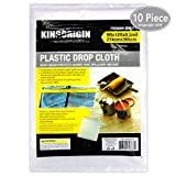 KINGORIGIN 10 Piece Drop Cloth Sheet,plastic drop cloth,for paint rollers,painters 9x12Feet 90004A,home repair tools,tools