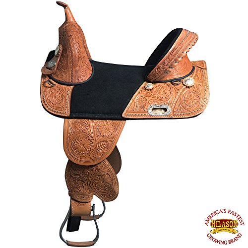 HILASON 14″ 15″ 16″ TREELESS Western Trail Barrel Racing American Leather Saddle TAN