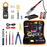 Soldering Irons with Digital Clamp Multimeter,Pancellent 60W Adjustable Temperature Welding Tool,5-in-1 Screwdrivers,5pcs Soldering Iron Tips,Solder Sucker,Wire Cutter,Tweezers,Soldering Iron Stand